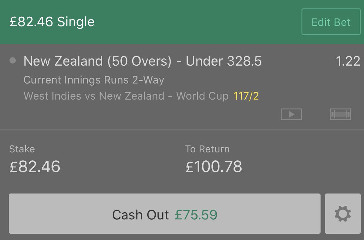£25 to £100 Roller Bet 3 💰Inplay cricket 🏏 New Zealand 🇳🇿 v West Indies New Zealand to score under 328.5 runs Odds 1.22 £82.46 returns £100.78 Smash ❤️ if you're on!#CricketWorldCup