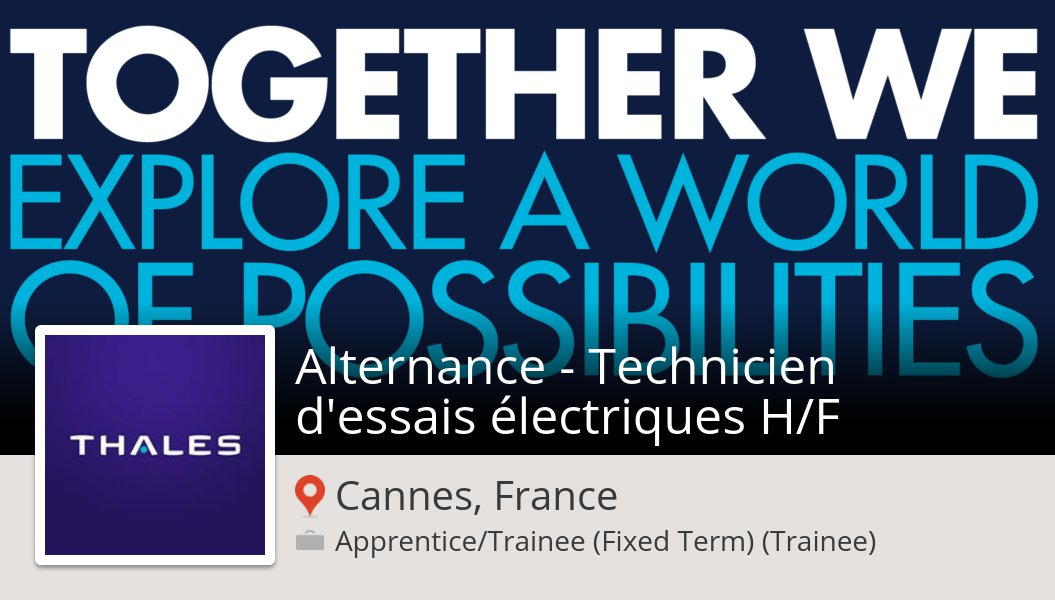 #Thales is looking for an #Alternance - #Technicien d'essais électriques H/F in #CannesFrance, apply now! #job https://workfor.us/thales/16a61y52