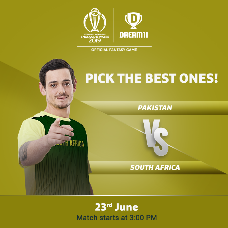 Both the teams battle to keep their World Cup hopes alive. Click here to make your #Dream11 for the game -  http://d11.co.in/WorldCup-2019     #YeGameHaiMahaan #CWC19 #PAKvSA
