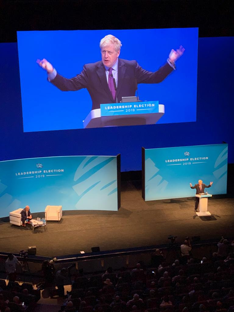Optimistic, upbeat speech from @BorisJohnson at the first leadership hustings in Birmingham, greeted by lots of applause and absolutely clear that we will leave the EU on 31st October. #BackBoris