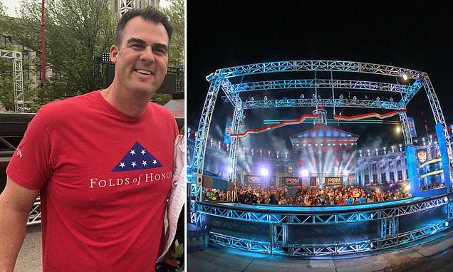 Oklahoma Governor Kevin Stitt repping Folds of Honor on American Ninja Warrior! 🇺🇸💪👏 @GovStitt @USANinjaWarrior