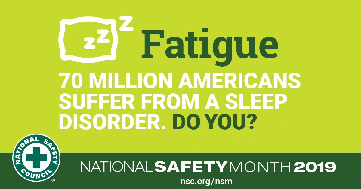 test Twitter Media - Chronic sleep deprivation can cause a number of serious health risks, such as depression, obesity, cardiovascular disease and other illnesses. Make sure you're getting the recommended 7-9 hours of sleep per night.   #NationalSafetyMonth #SafetySaturday #NSM https://t.co/XW1PvXh0D2