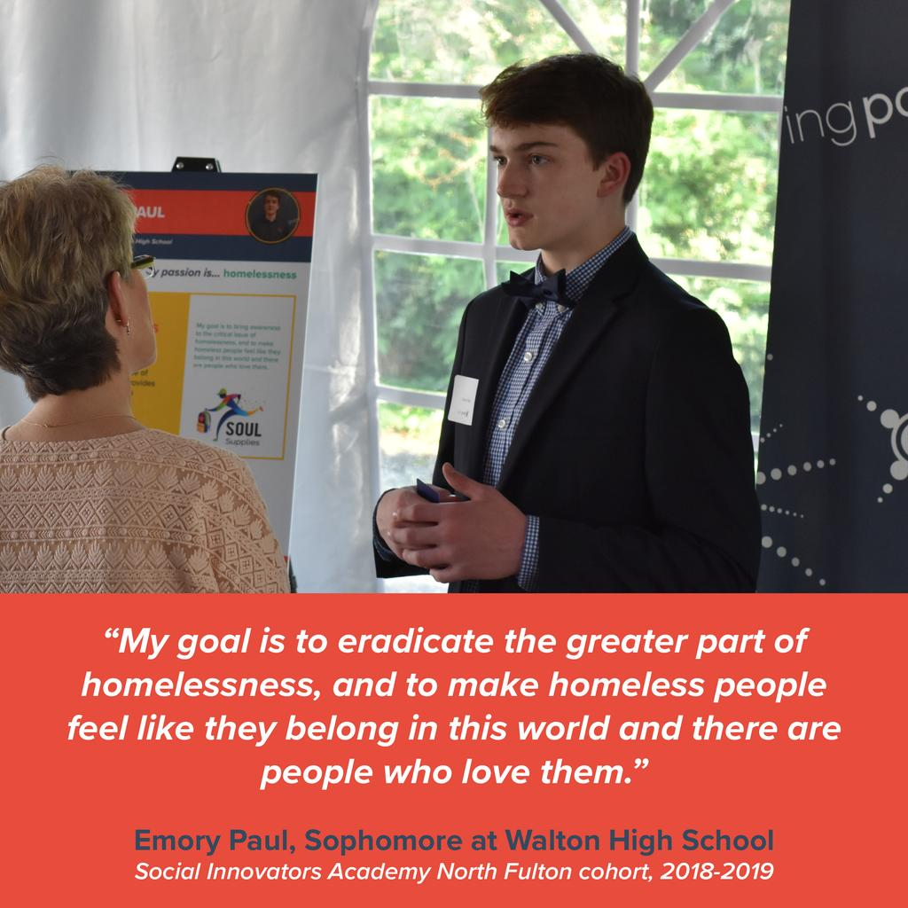 Today we are showcasing Emory Paul, a member of our 18-19 North Fulton #SocialInnovatorsAcademy cohort! He is a Walton HS student and the founder of Soul Supplies ATL, focusing on the issue of homelessness. Read more about Emory https://mygivingpoint.org/student-spotlight-emory-p/…! @WHSPTSA @CobbSchools
