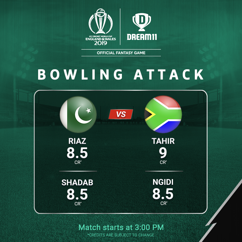Whose deliveries are going to get you the maximum points today? Click here to make your #Dream11 for the match -  http://d11.co.in/WorldCup-2019     #YeGameHaiMahaan #CWC19 #PAKvSA