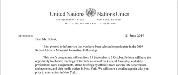 So this happened... when do I change my Bio to United Nations  Fellow 2019?  We're going to New York baby. We're attending and reporting on UNGA <br>http://pic.twitter.com/G3Am1VxjYI