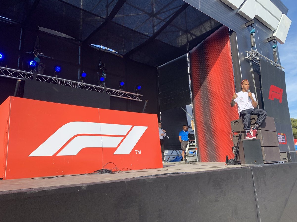 So this just happened. @LewisHamilton, fresh from his 86th pole position, came to the fanzine stage, leapt on top of the speakers and held court for a good 20 minutes taking questions from fans. He was open, honest and gave some really thoughtful answers. It was bloody lovely.