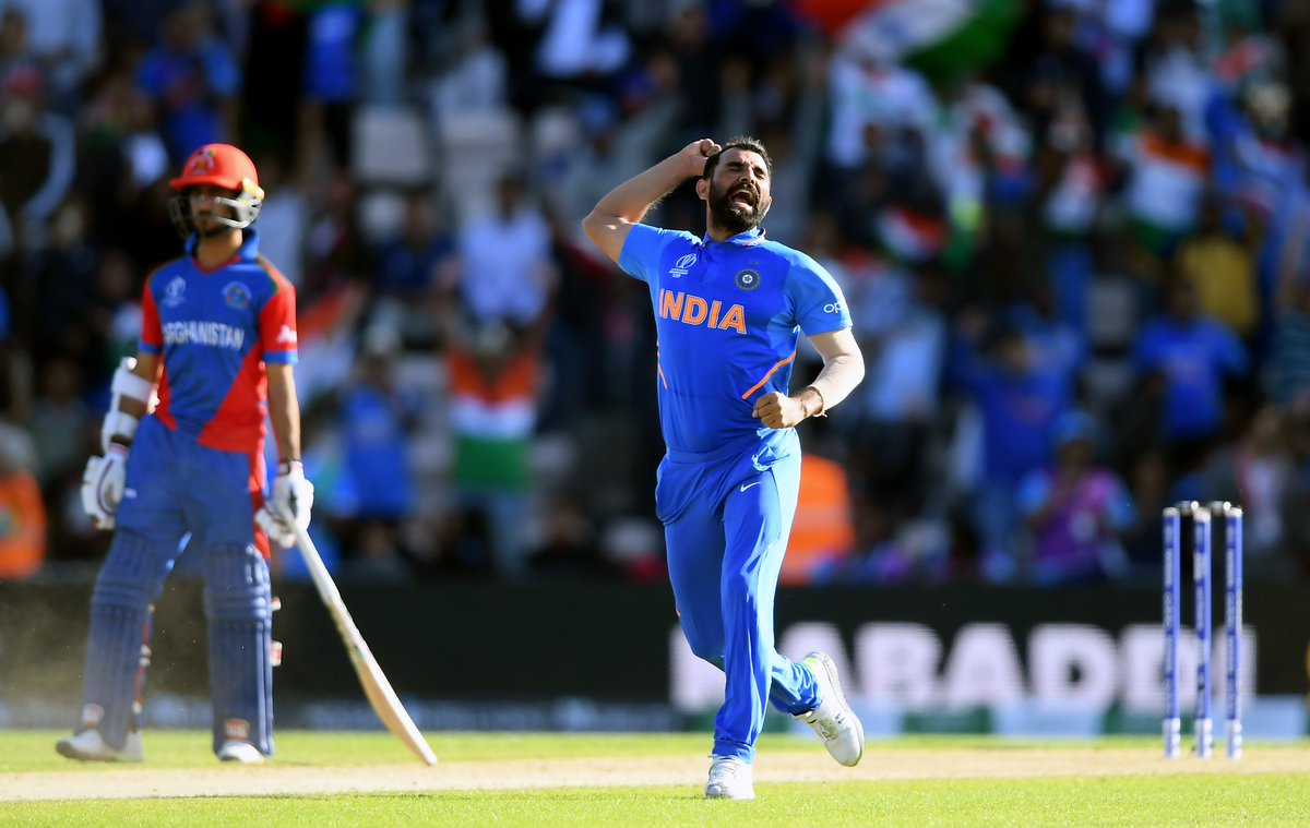 What a way to end it @MdShami11! 🎩🎩🎩Nabi c Pandya b ShamiAlam b ShamiUr Rahman b ShamiIndia take an absolute thriller by 11 runs.Watch the winning (and hat-trick) moment here!#INDvAFG | #TeamIndia | #CWC19