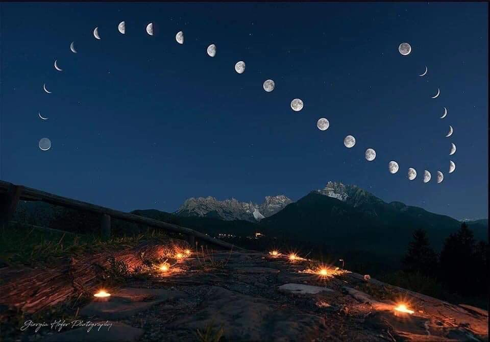 A composite photo of the position and phases of the moon over 28 days, each photo taken at the same exact location each day.   Photo: Giorgia Hofer Photography
