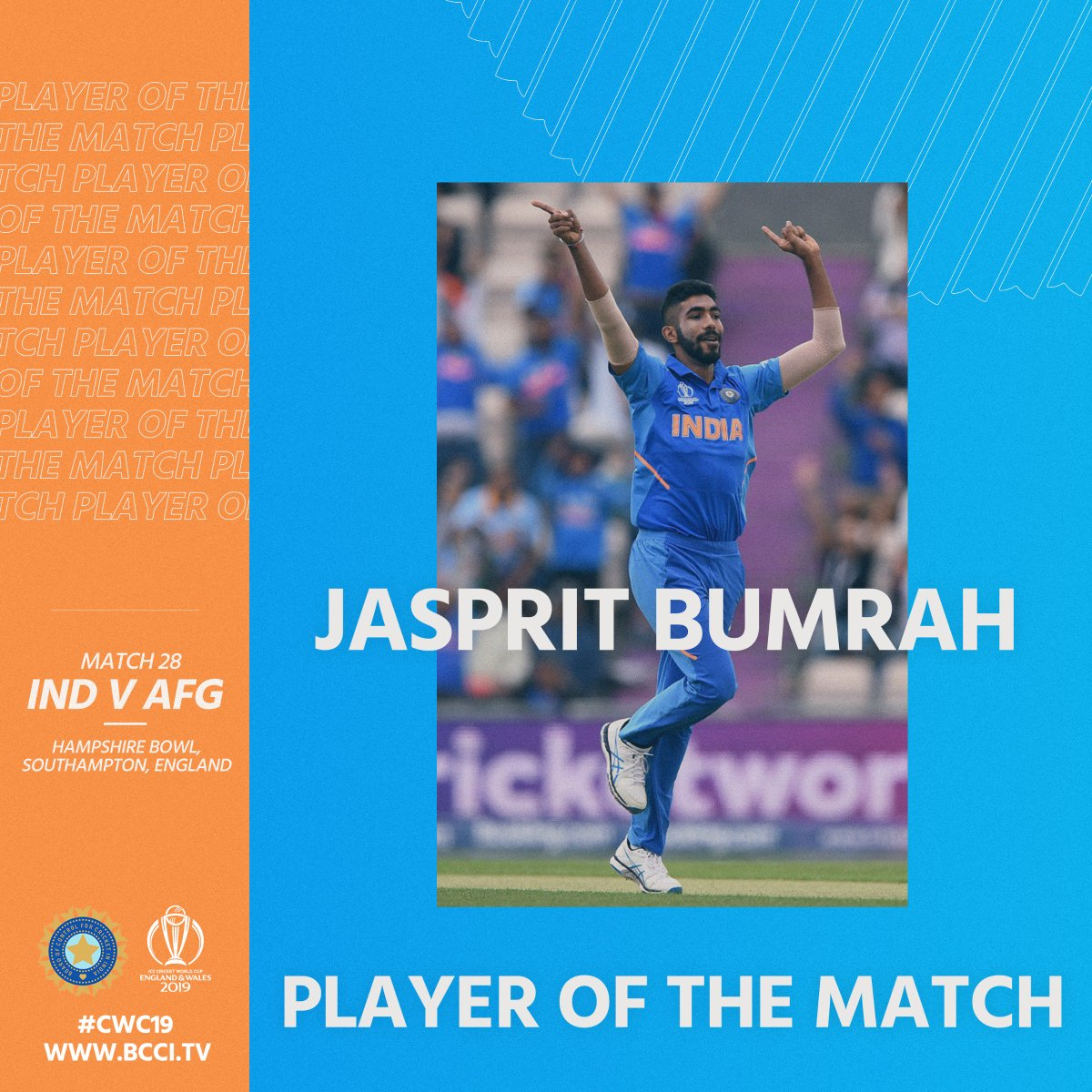 Congratulations Yorker KING 👑👑@Jaspritbumrah93 for a match-changing & match-winning performance #TeamIndia #INDvAFG #CWC19