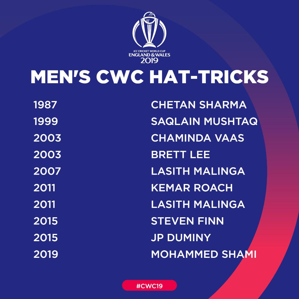 Mohammed Shami joins an elite club as he becomes the ninth player to take a hat-trick in men's World Cups! 👏#CWC19 | #TeamIndia