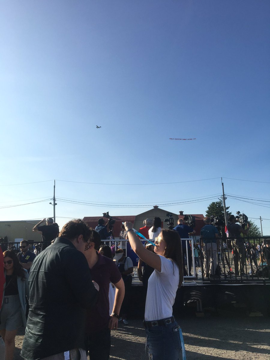 "A plane is flying a banner above #Fordfest right now that says ""Public Education Cannot Afford Ford"" #ONpoli"