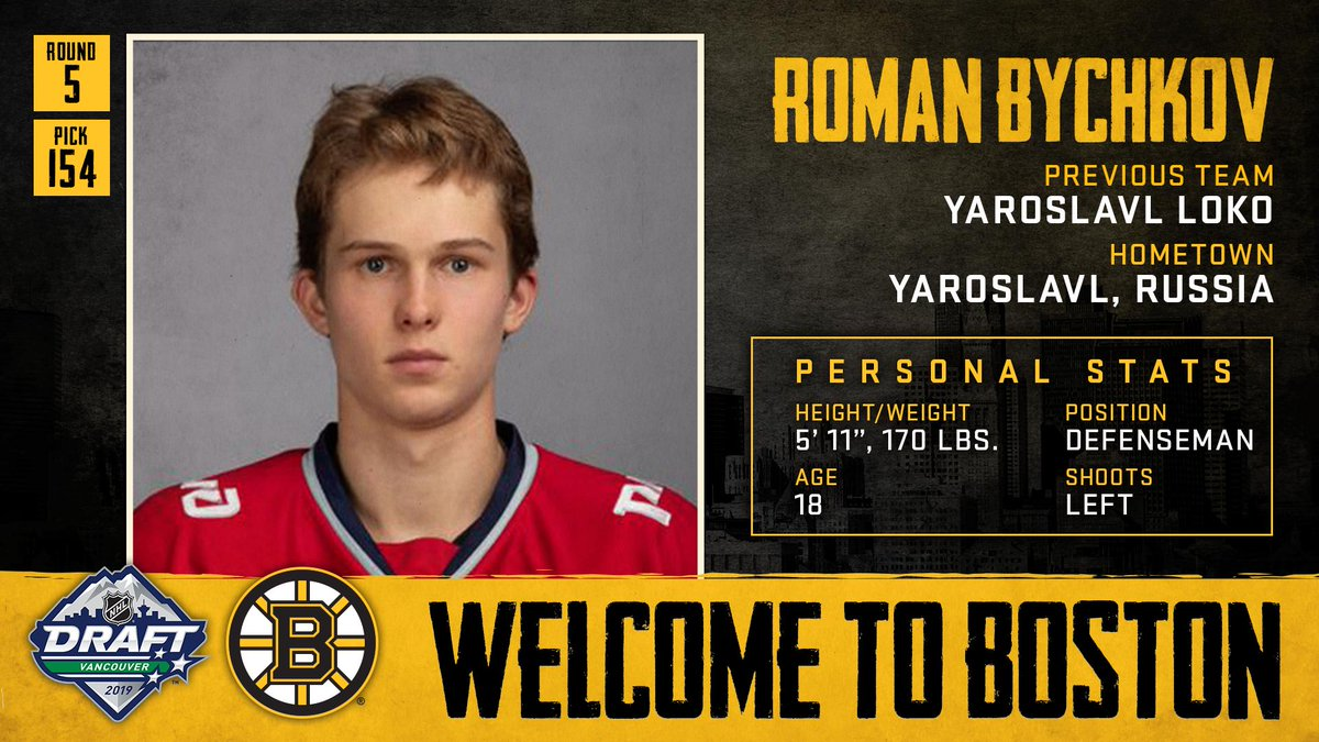 With the 154th pick in the 2019 #NHLDraft, weve selected defenseman Roman Bychkov. Welcome to Boston, Roman!