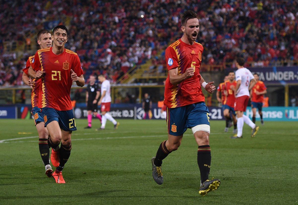 Fabián, celebrando su gol ante Polonia.