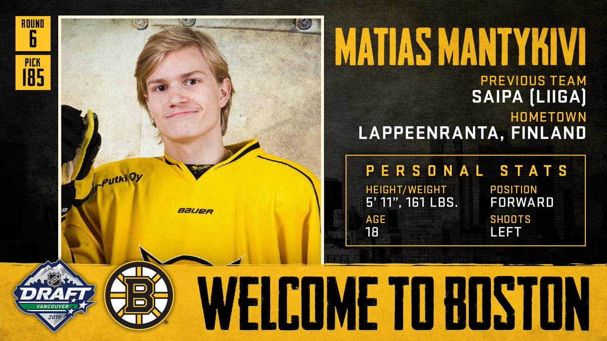 With the 185th pick in the 2019 #NHLDraft, weve selected forward Matias Mantykivi. Welcome to Boston, Matias!