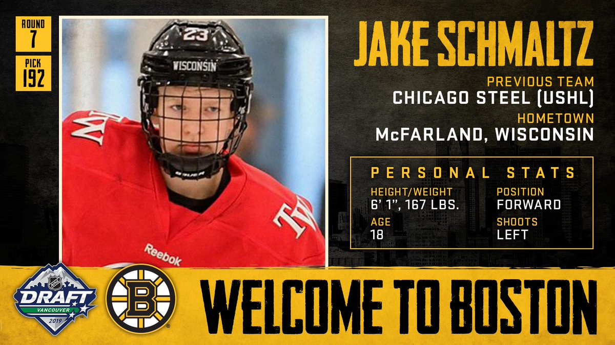With the 192nd pick in the 2019 #NHLDraft, weve selected forward Jake Schmaltz. Welcome to Boston, Jake!