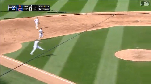 Caratini pitches, makes amazing jump throw