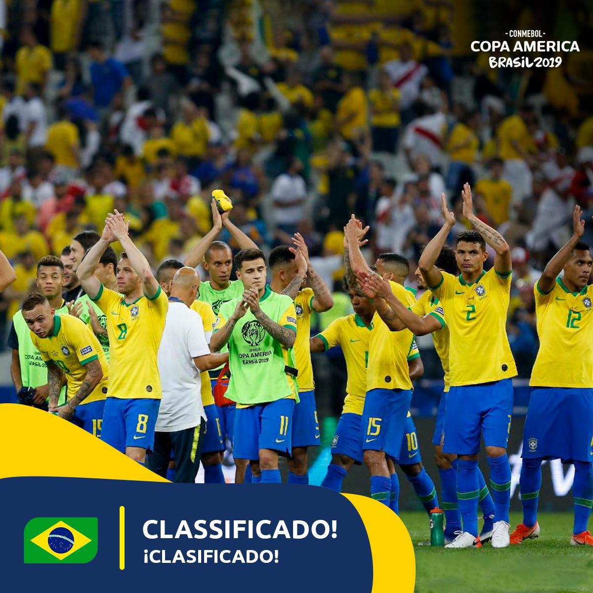 Timnas Brasil mengunci satu tiket ke perempat final Copa Amerika 2019.