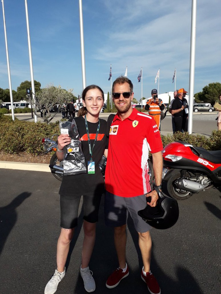 What amazing day!!!🤩❤ It was one of the best day of my life, I lived of emotions unique and unforgettable.😭💖🤞🏻 Big THANKS at Seb for this beautiful gift and his awesome kindness. 🙏🏻💝 I love you so much my HERO!❣☝🏼 À demain tout le monde! 🇫🇷🏎 #FrenchGP @F1 #Seb5