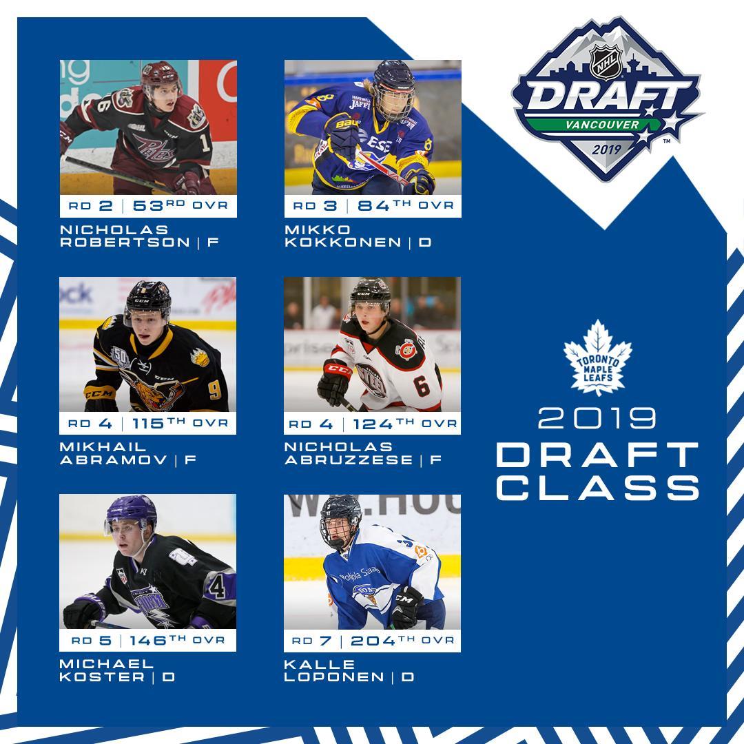 A look at the newest faces in Leafs Nation.  Here's the @MapleLeafs 2019 Draft Class. #LeafsForever https://t.co/1yttOi2blM