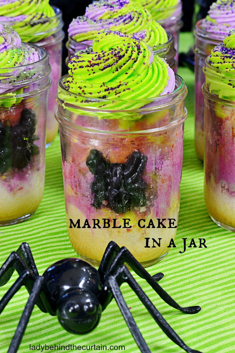HALLOWEEN Marble Cake in a Jar via Lady Behind the Curtain #GhastlyGastronomy <br>http://pic.twitter.com/eXuIsYiLWL