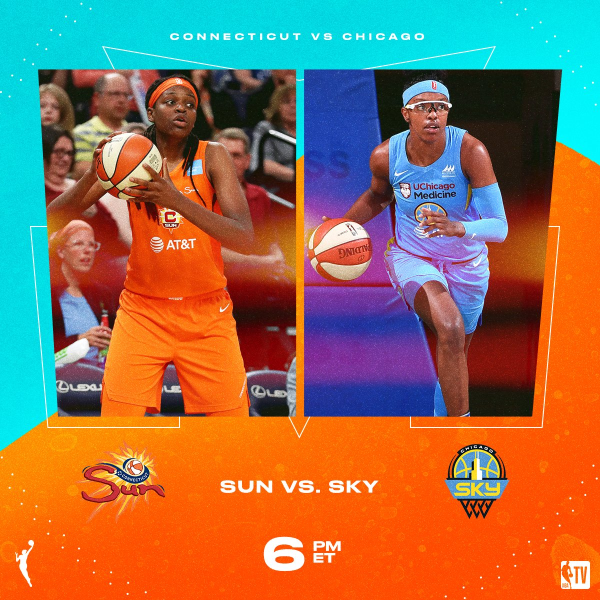 Tune-in as the @ConnecticutSun battle the @wnbachicagosky // 6pm ET on NBA TV!