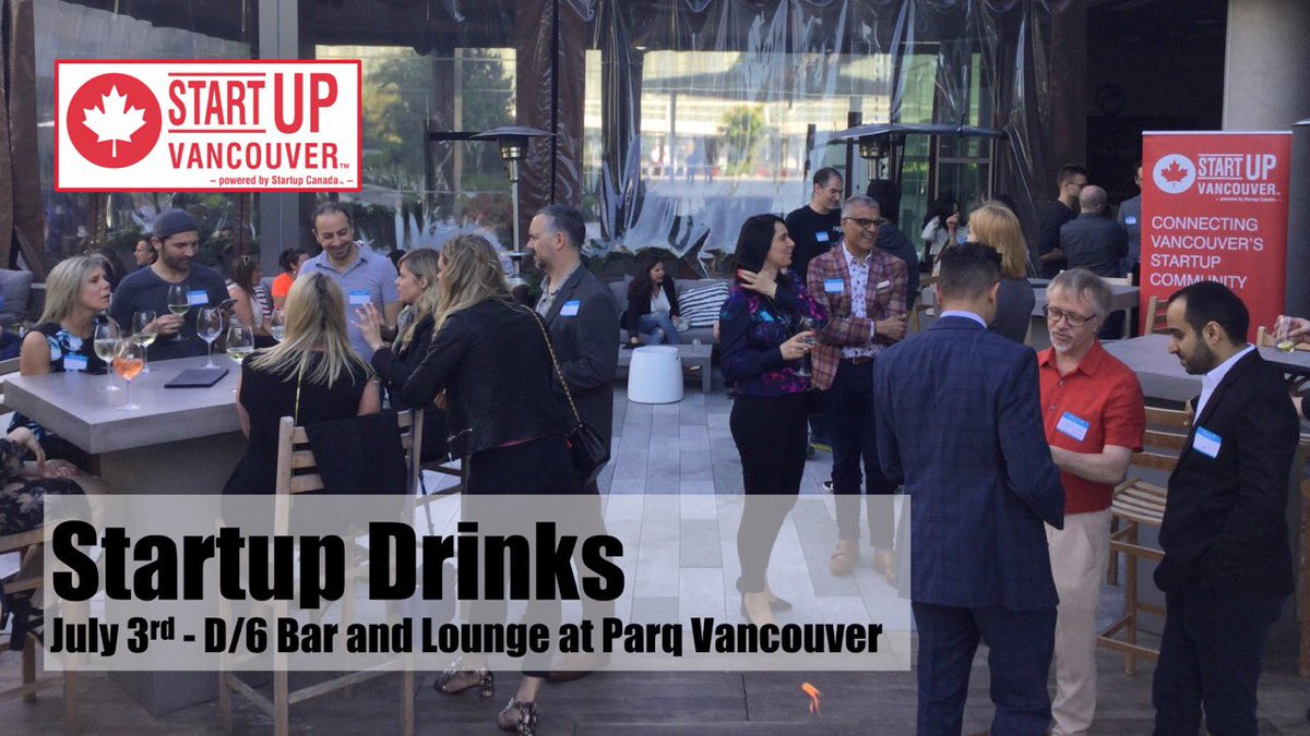 Join us July 3rd for #VanStartupDrinks at D/6 Lounge at @parqvancouverbc to mingle with a diverse group of awesome people from across the spectrum of our local innovation community. Register now! >> https://www.eventbrite.ca/e/startup-drinks-vancouver-entrepreneurship-social-mixer-tickets-64000922482… @innovate_bc @thisisvolition @Startup_Canada @Spring_is