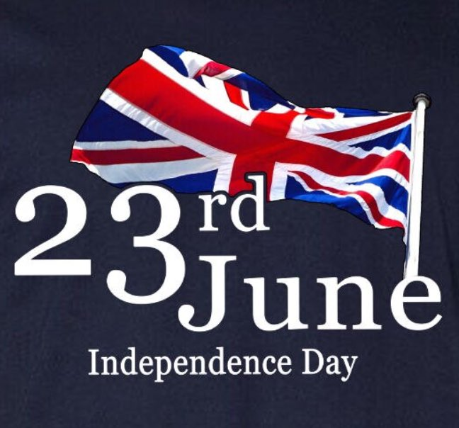 TODAY IS UK INDEPENDENCE DAY. It should be a bank holiday each year to mark June 23rd 2016 when the British people democratically chose to be a free sovereign country again. Brits chose our country & people over EU rule rejecting the EU & everything it stands for
