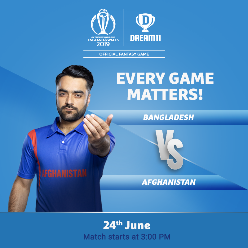 Will Afghanistan win their second match in World Cup history and first this year today? Click here to make your #Dream11 for this match - http://d11.co.in/Worldcup2019#YeGameHaiMahaan #CWC19 #BANvAFG