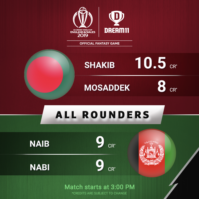 They are ready to give you bonus points in every department. Are these versatile players in your #Dream11 today? Click here to make your teams -  http://d11.co.in/WorldCup-2019 #YeGameHaiMahaan #CWC19 #BANvAFG