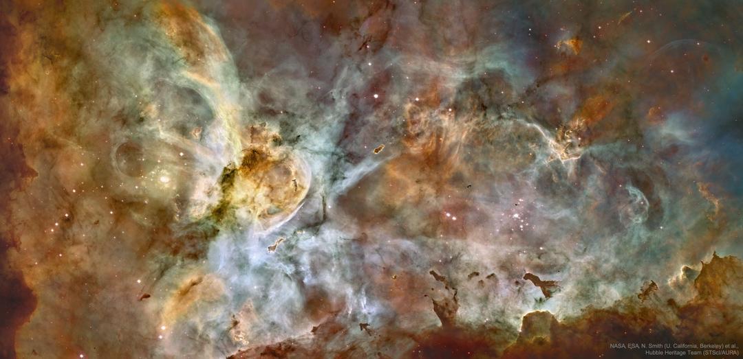 Panorama del centro de la Nebulosa Carina, una de las mayores regiones de formación estelar. La imagen tomada en 2007 fue la imagen más detallada de la Nebulosa Carina que se tomó. Catalogado como NGC 3372, la Nebulosa Carina es visible a simple vista https://apod.nasa.gov/apod/astropix.html…