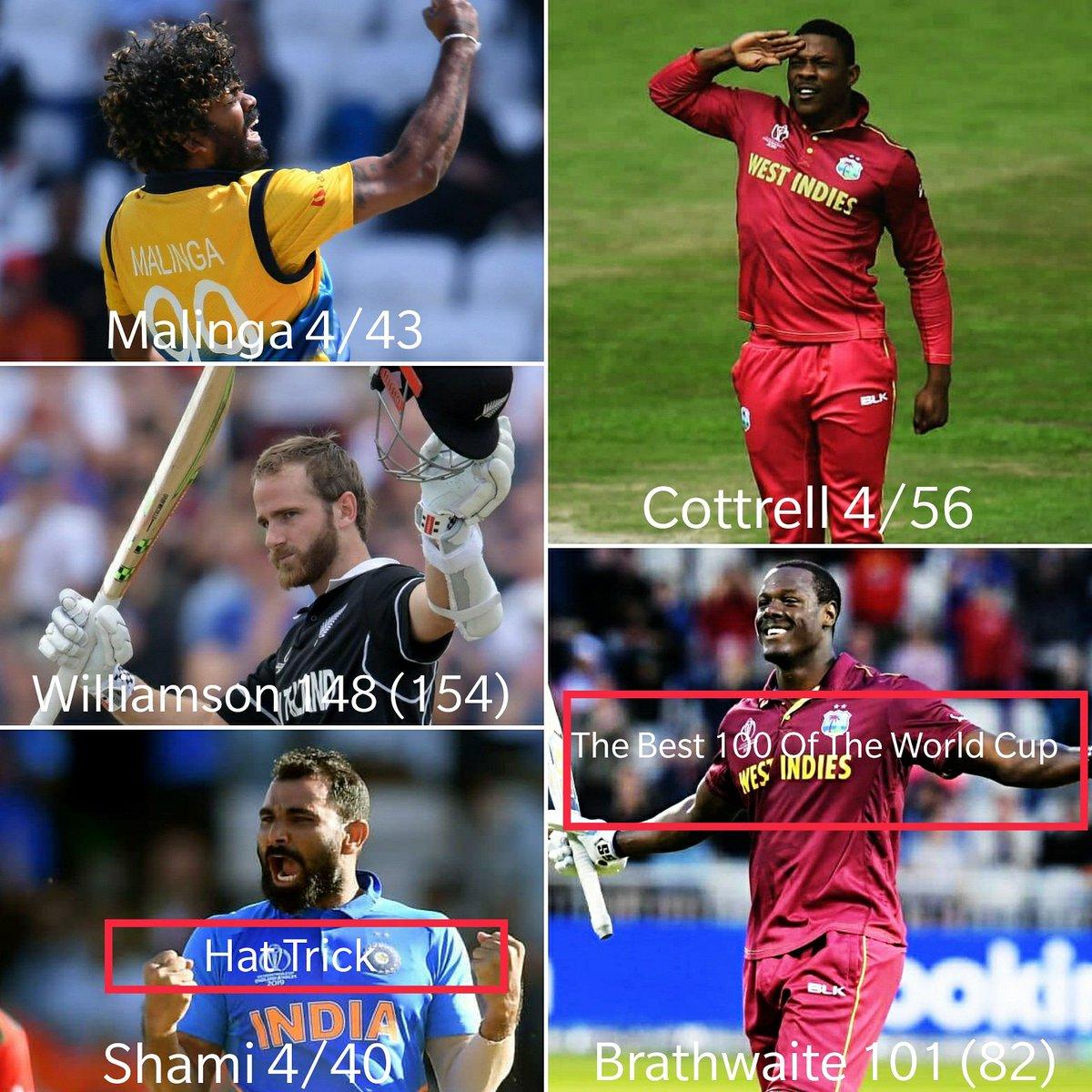 The best 2 days of cricket at the World Cup thus far. Thanks to these men 💯#starsportsIndia #ICCWorldCup2019 #kanewilliamson #CarlosBrathwaite #Shami #Malinga #SheldonCottrell #cricket