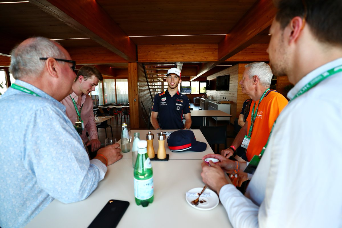 Hometown hero @PierreGASLY meets our guests ahead of today's #FrenchGP.  #AstonMartinRedBullRacing #F1