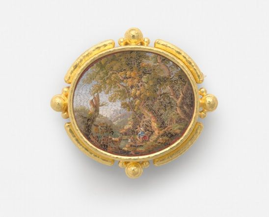 A Return to the Grand Tour: Micromosaic Jewels from the Collection of Elizabeth Locke Through September 2 Free Image: Wilderness, 19th century, micromosaic set in gold as a pendant, with gold balls flanked by granulation around bezel. #MicroMoVMFA #vmfa #elizabethlocke