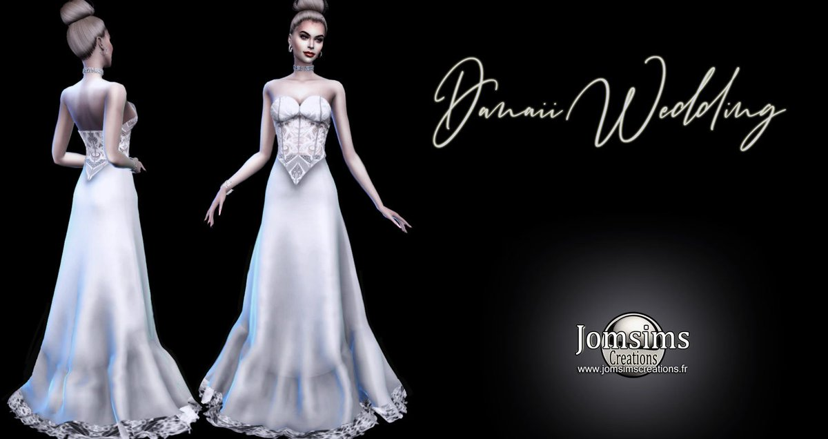 Sims 4 Wedding Dress.Danaii Wedding Dress Sims 4 For Her Long Dress Lace Lace Corset