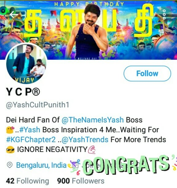 Congrats @YashCultPunith1 annthamma for complet 900 followers 👏❤️ Just 100 Followers left for 1000 followers club make it fast👍  #KGF #KGFChapter2 #yashboss #Yash