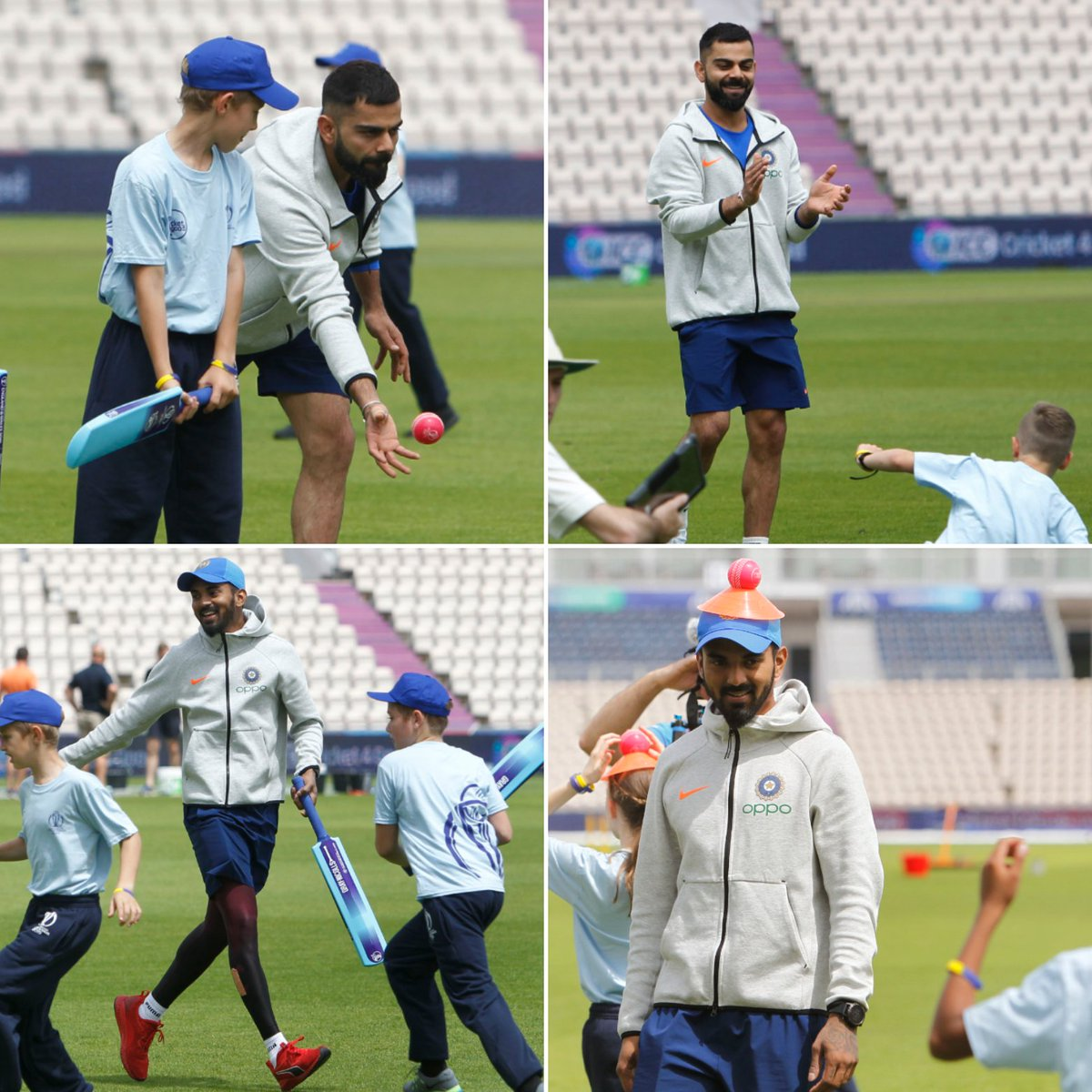 Watch: An initiative by the ICC - Members of #TeamIndia did their bit to bring some smiles on the faces of kids by playing cricket with them. This one is courtesy @imVkohli  @klrahul11 🙂😊#CWC19 Watch the video here 📽️📽️📽️ https://bit.ly/2Xt7lho