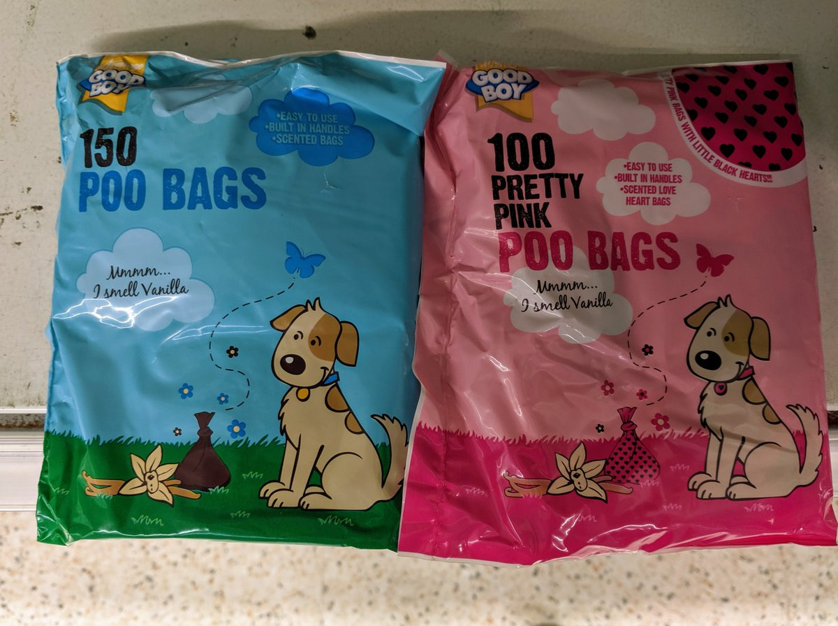 Just spotted in @asda genderised dog poo bags! 😂 Imagine your poor male dog (or cat in our case) feeling totally emasculated due to pink shit bags! Protect canine masculinity! Nothing is sacred anymore. @LetToysBeToys