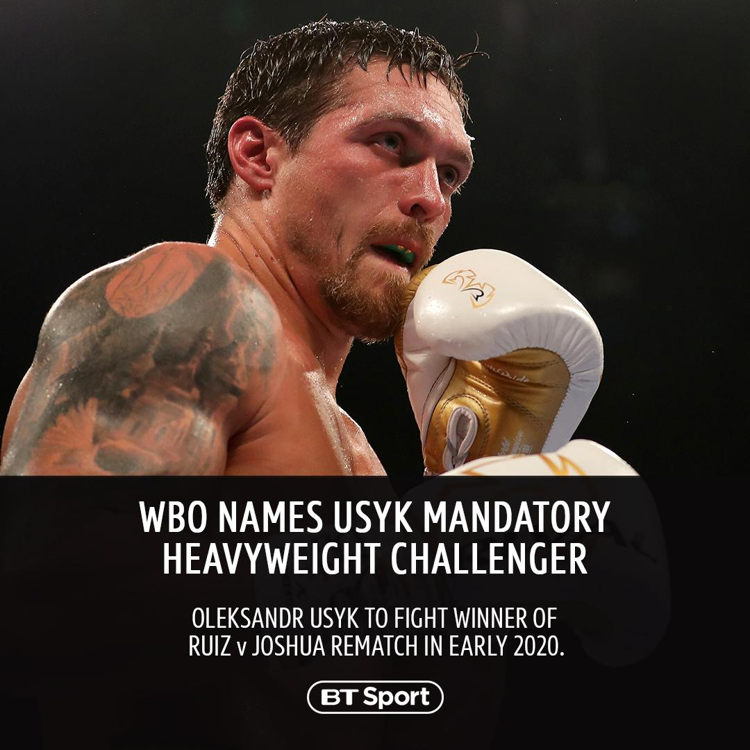 The WBO have announced that Oleksandr Usyk is the mandatory heavyweight challenger. The Ukrainian will face the winner of Andy Ruiz Jr.s rematch with Anthony Joshua.