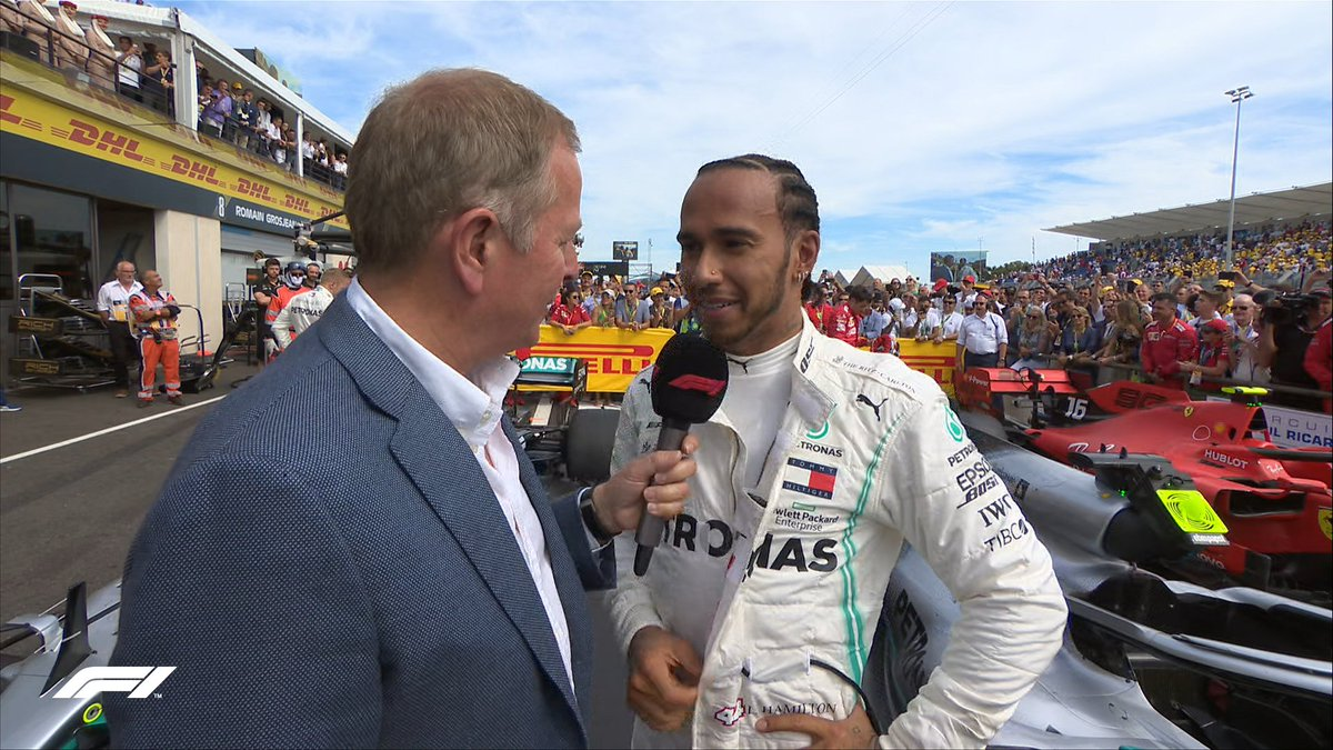 """HAMILTON: """"I've been racing a long time but it never gets old. I couldn't do what I do without this incredible team. We're making history together. I'm really hyped""""   #F1 #FrenchGP 🇫🇷"""