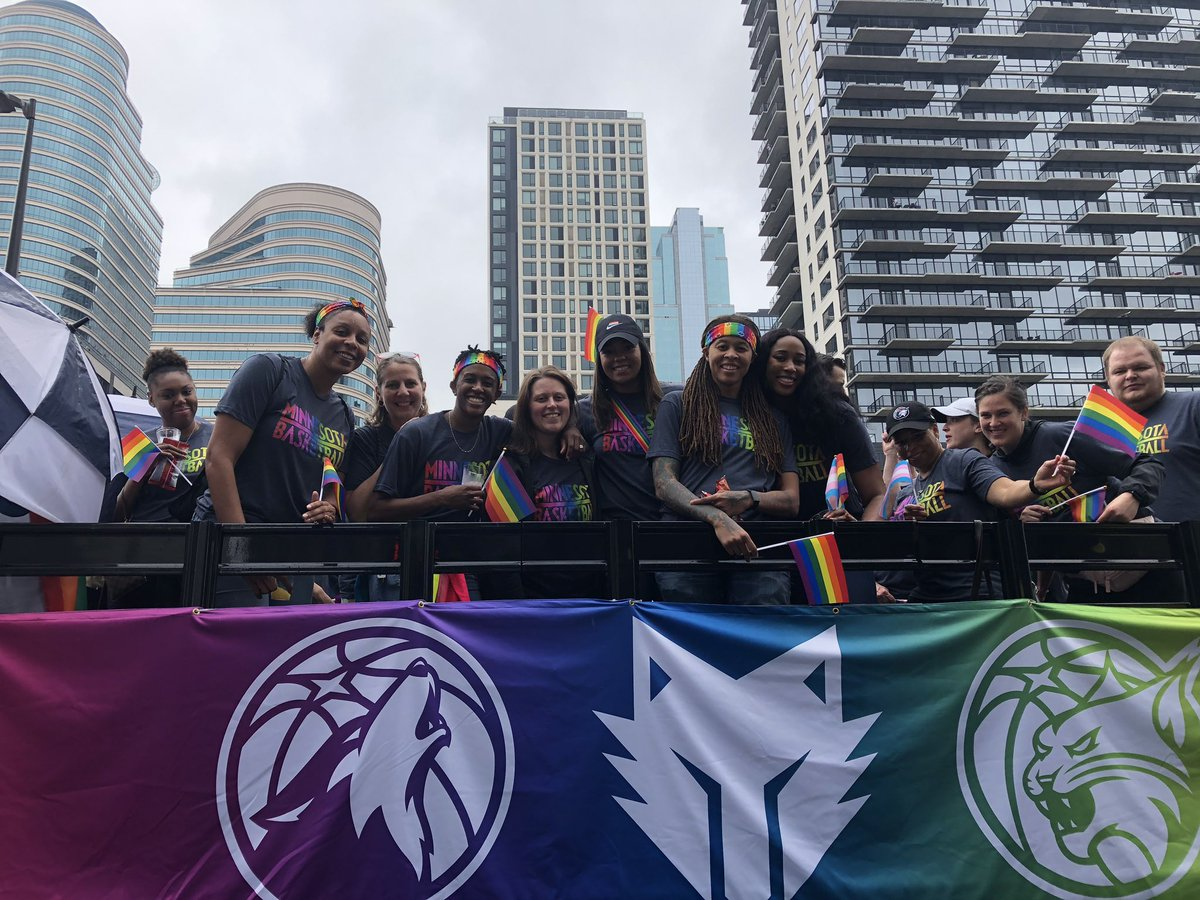 Members of the #Lynx, #Timberwolves and #TwolvesGaming getting ready for #TwinCitiesPride!