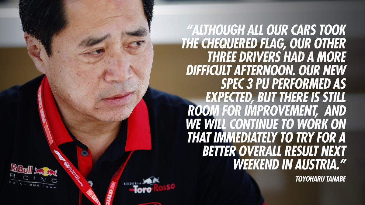"""""""This was a tough race for us, but as usual, Max drove a strong race to finish where he started, with the three cars ahead of him also finishing in grid order.""""  Tanabe-san 🗣️  Race Review 👉🏻 http://bit.ly/2WZhmOQ  #PoweredByHonda"""