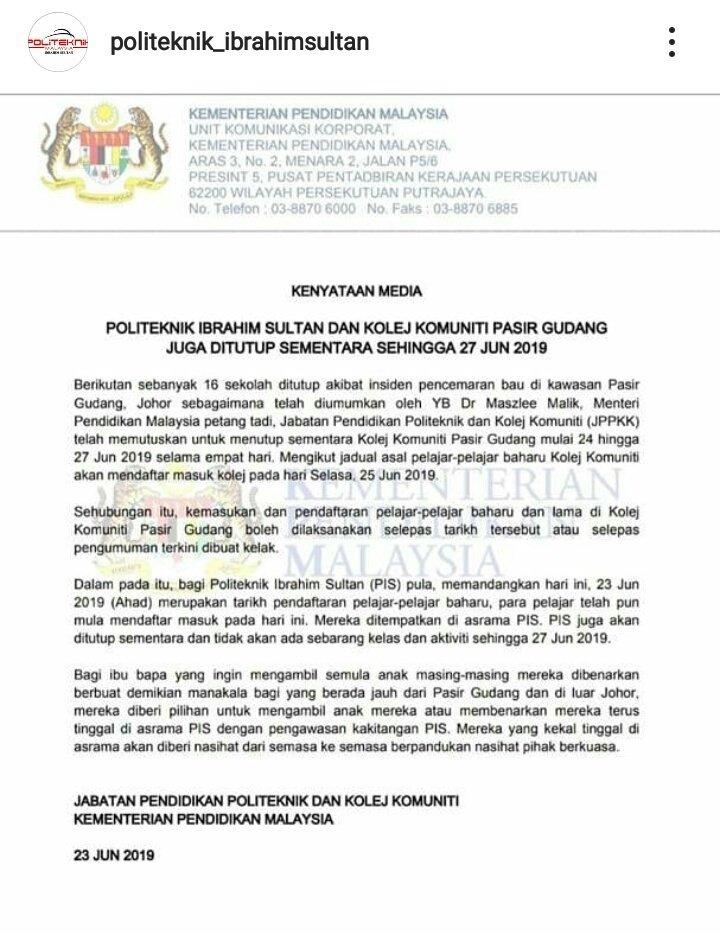 Pis On Twitter Info Terbaru Pis Ditutup Sehingga 27 Jun 2019 Untuk Maklumat Lanjut Boleh Lihat Di Fb Politeknik Ibrahim Sultan Ig Seperti Dibawah Mpppisofficial Policonfess Https T Co Vh76i18siq