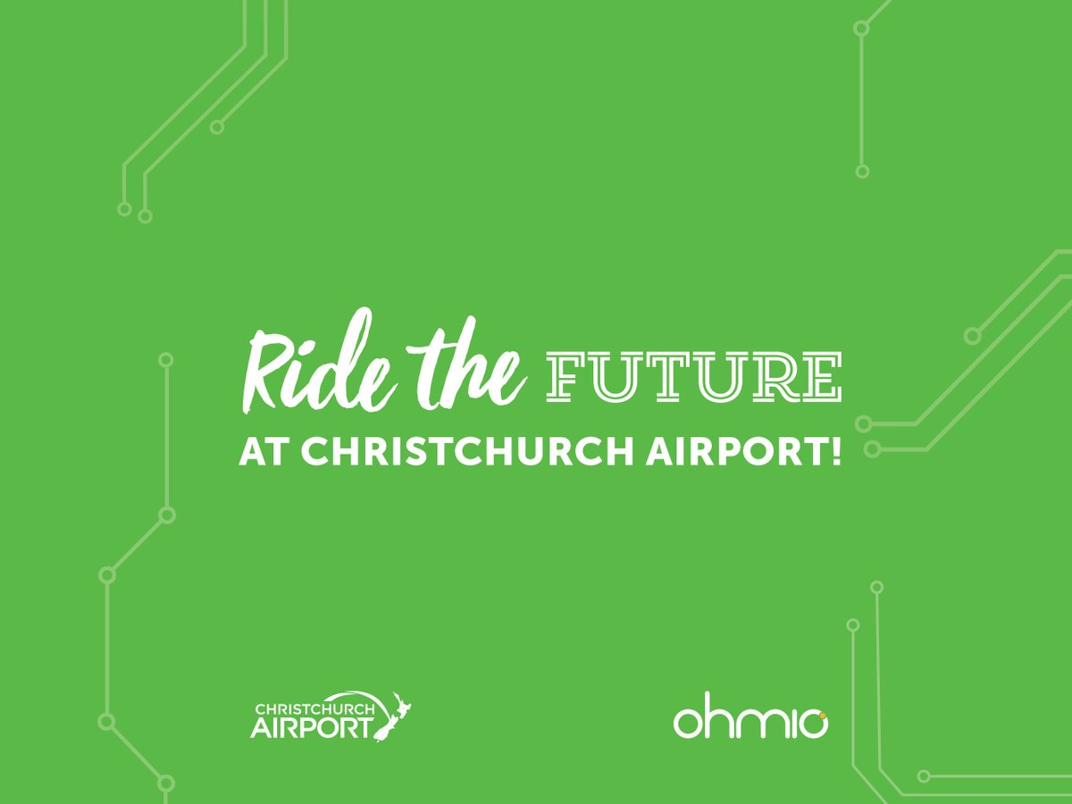 ⚡🚌🔌Come aboard and ride the future on the first 3D printed Kiwi Smart Shuttle at Christchurch Airport! Rides are free and open to the public every day until Friday 28 June 2019 in the plaza at the following times: 8am, 10am, 12pm and 2pm #ridethefuture #ohmio