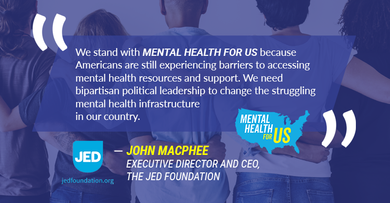 We're honored to have the @jedfoundation as a leading member of #MentalHealthforUS. They exist to protect the emotional health of young adults, and with the rise of youth suicide, their work has never been more important. Learn more at https://bit.ly/2x9Qstm