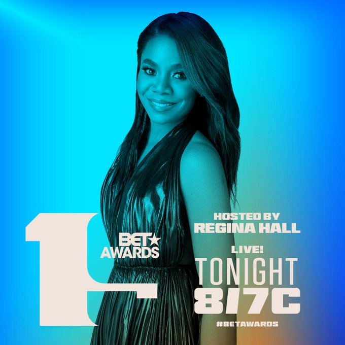 Promotional Image for BET Awards 19 featuring host Regina Hall.