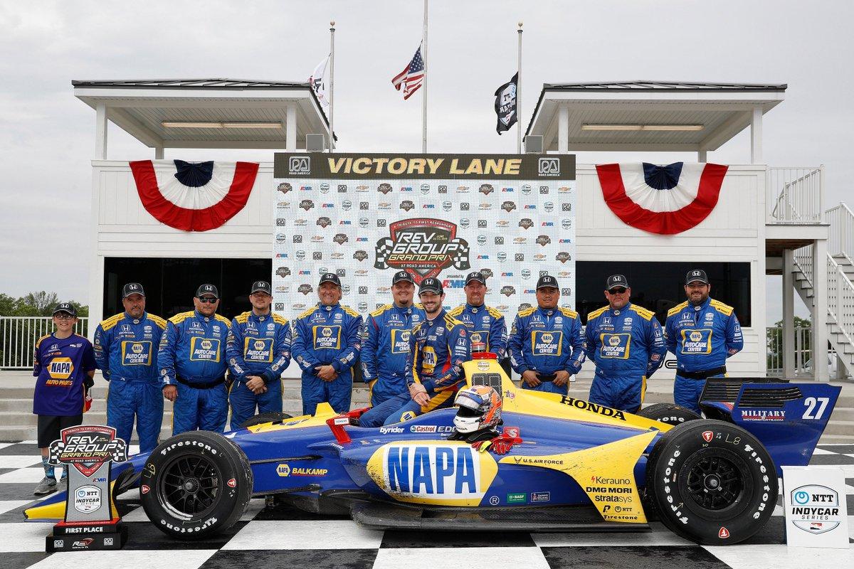 Congrats to @AlexanderRossi & @NAPARacing @FollowAndretti team on the dominating win at the @RoadAmerica NTT @Indycar Series race! @Honda powers 7 of top 10 finishers!  <br>http://pic.twitter.com/DVRc6yGxVA