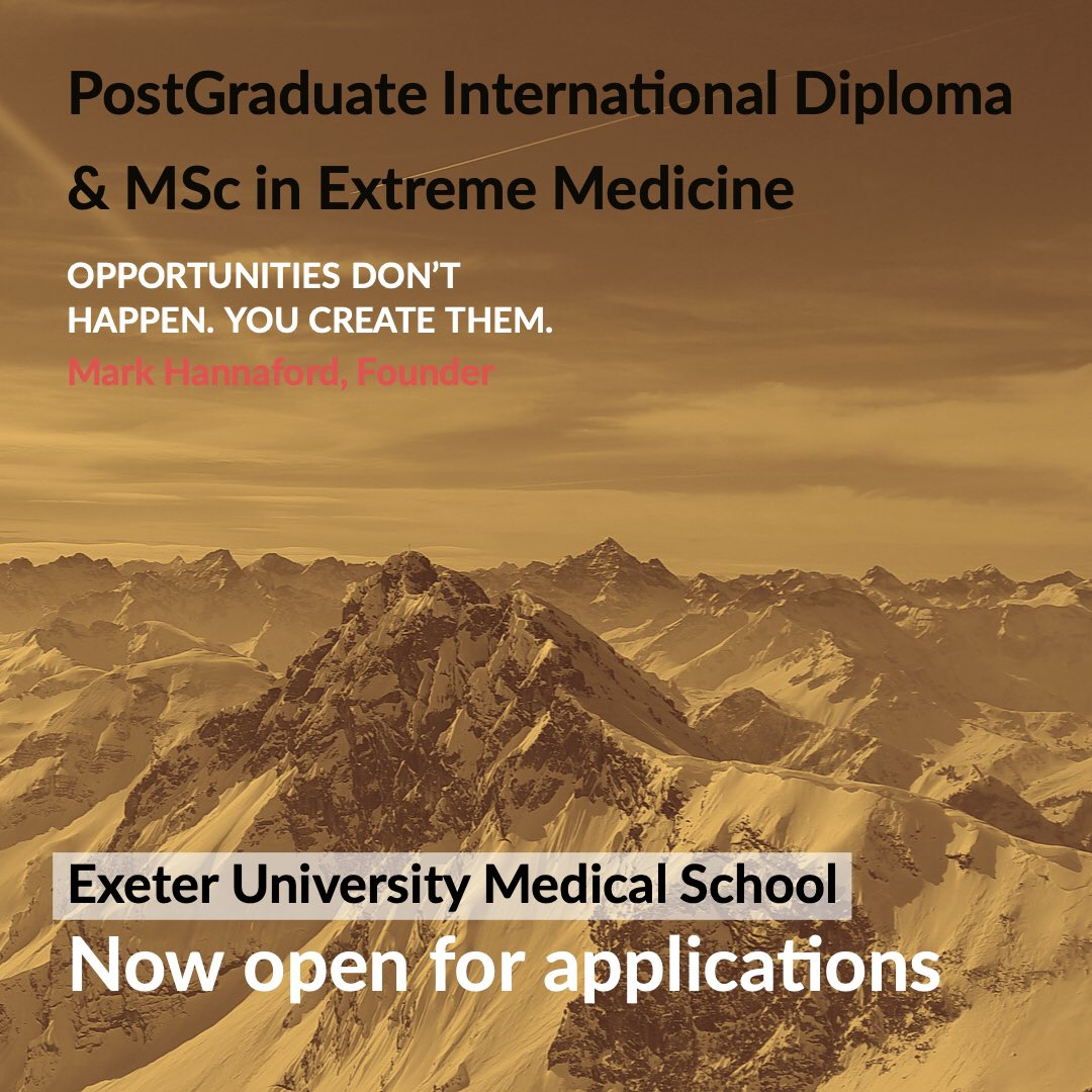 The world's first academic program in #extreme #medicine  Modular program includin Expedition & Wilderness, Jungle, Polar, Mountain, Space, Disaster & Humanitarian plus others.  Now open for applications - why not make the world of your medical degree?  http://www.exeter.ac.uk/postgraduate/taught/medicine/extrememedicinemsc/ …