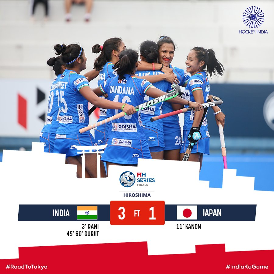 India beat host Japan 3-1 to win Women's FIH Series Finals title. With this win India also secures its place in the Olympic Qualifiers to be held later this year. Both women and men won #FIHSeriesFinals this year. Kudos 👏💪👍🇮🇳