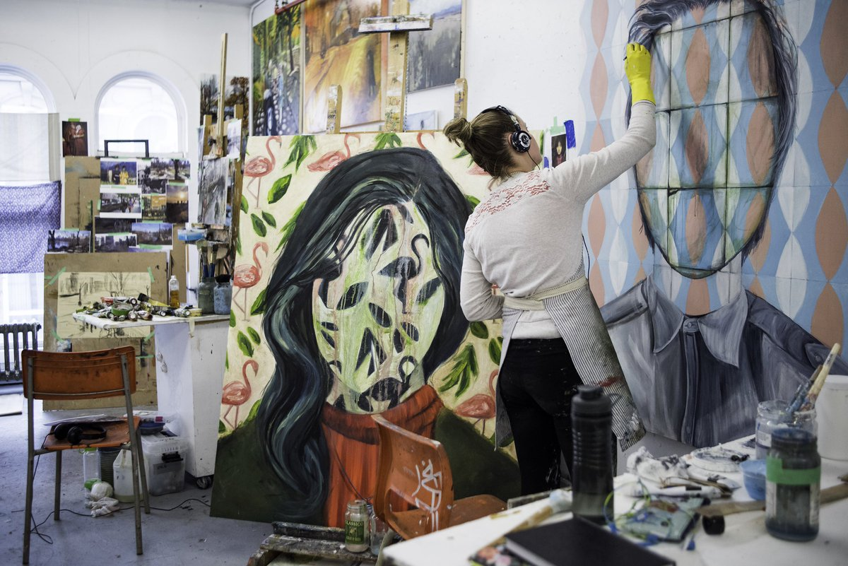 #PortfolioTip: Tell the full story. Don't be embarrassed by imperfect drawings or unfinished pieces of work. It's all part of your process and illustrates your ability to create and ideate. #Throwback to a #painting #workinprogress at @NSCADUniversity. #stayinspired #studentwork