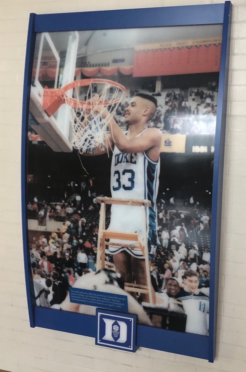 I'm a Tarheel fan, but this is still my favorite college b-ball player of all time. Walking around the Duke museum today. #GrantHill #Legend #ACC #NCAA